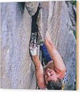 Rock Climber Wood Print