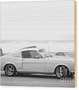 67 Mustang In Black Wood Print