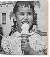 Girl With Ice Cream Cone Wood Print
