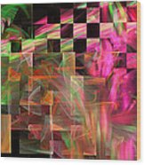 Abstract Checkered Pattern Fractal Flame Wood Print