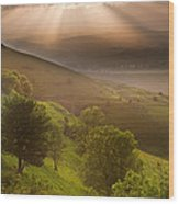 Beautiful English Countryside Landscape Over Rolling Hills Wood Print by Matthew Gibson