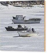Boat And Ice Hobart Beach Ny Wood Print