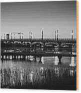 Bridge Of Lions St Augustine Florida Painted Bw Wood Print