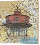 7 Ft Knoll Lighthouse Md Nautical Chart Map Art Cathy Peek Wood Print