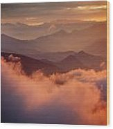 Golden Sunset Himalayas Mountain Nepal Wood Print