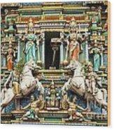 Hindu Temple With Indian Gods Kuala Lumpur Malaysia Wood Print