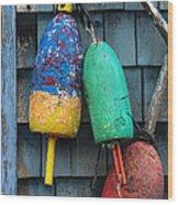 Lobster Buoys Wood Print