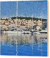 Mytilini Port Wood Print