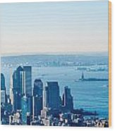 New York City Manhattan Midtown Aerial Panorama View With Skyscr Wood Print