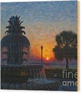Pineapple Fountain At Dawn Wood Print