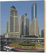 Pudong Skyline Wood Print