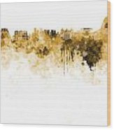 Rio De Janeiro Skyline In Watercolor On White Background Wood Print