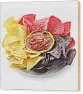 Tortilla Chips And Salsa Wood Print