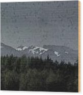 Treeline With Ice Capped Mountains In The Scottish Highlands Wood Print