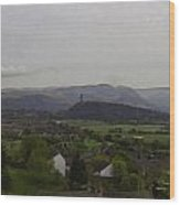 View Of Wallace Monument And Surrounding Areas Wood Print