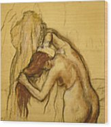 Woman Drying Herself Wood Print