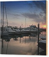 Yachts At Sunset Wood Print