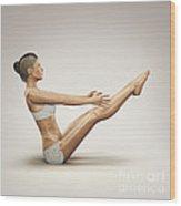 Yoga Boat Pose Wood Print