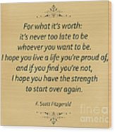 74- F. Scott Fitzgerald Wood Print