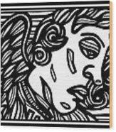 Sumler Angel Cherub Black And White Wood Print