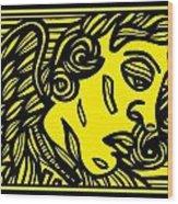 Dusseault Angel Cherub Yellow Black Wood Print
