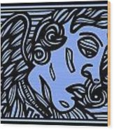 Bouthillette Angel Cherub Blue Black Wood Print