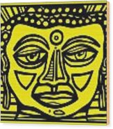 Jakubek Buddha Yellow Black Wood Print