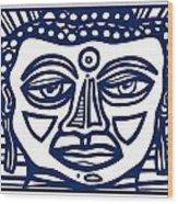Trivane Buddha Blue White Wood Print
