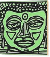 Cleark Buddha Green Black Wood Print