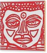 Barbot Buddha Red White Wood Print