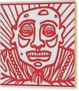 Pisco Buddha Red White Wood Print