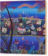75th Anniversary Of Palm Beach, Florida Oil On Canvas Wood Print