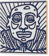 Frisby Buddha Blue White Wood Print