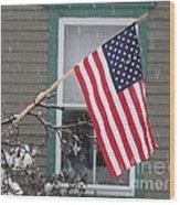 #762 D68 American Flag Winter Wood Print