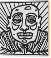 Lorton Buddha Black And White Wood Print