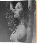 7634 Bw Nude With Fire Sign Kanjii Wood Print