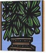 Kisiel Plant Leaves Green Black Wood Print