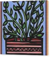 Sako Plant Leaves Red Green Blue Wood Print