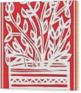 Kimbrell Plant Leaves Red White Wood Print