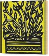 Heidecker Plant Leaves Yellow Black Wood Print