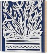 Stearne Plant Leaves Blue White Wood Print
