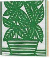 Lagoa Plant Leaves Green White Wood Print