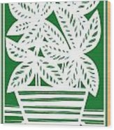 Stole Plant Leaves Green White Wood Print
