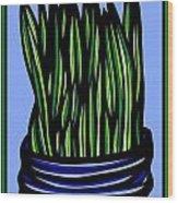 Chrisler Plant Leaves Blue Green Red Wood Print