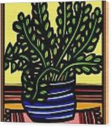Rueck Plant Leaves Yellow Green Red Wood Print