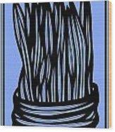Chidester Plant Leaves Blue Black Wood Print