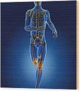 3d Running Medical Man Wood Print