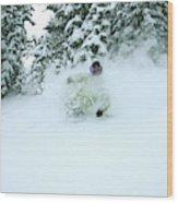 A Man Skiing In Powder Near South Lake Wood Print
