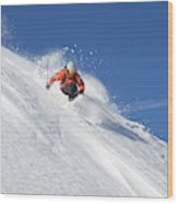 A Young Man Skis Untracked Powder Wood Print