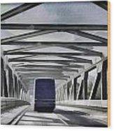 Blue Citylink Bus On A Metal Bridge In Scotland Wood Print